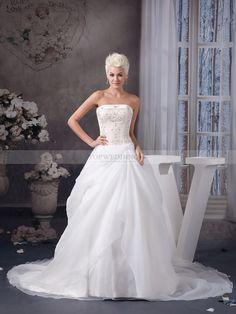 Maricruz - Trägerloser Ausschnitt Duchesse-Linie Satin Brautkleid mit Perlenstickerei