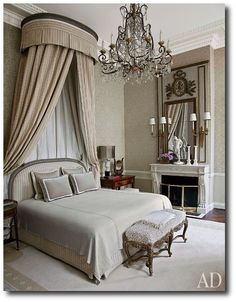 The bed in the master suite of a Paris home renovated by interior designer Jean-Louis Deniot is highlighted by an corona and a Louis XV bench; the chandelier is Italian, and Jansen sconces flank the Louis XVI trumeau. Paris Home, Home Bedroom, Master Bedroom, Bedroom Decor, Master Suite, Bedroom Ideas, Bedroom Designs, Glam Bedroom, Paris Bedroom