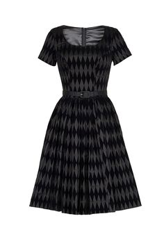 Pinup Couture Gena Dress in Black Flocked Harlequin | Pinup Girl Clothing