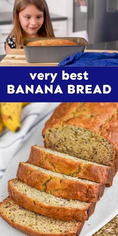This Banana Bread is the very best! And easy to make, a kid could do it! Zucchini Banana Bread, Strawberry Banana Bread, Banana Chocolate Chip Muffins, Make Banana Bread, Breakfast For Dinner, Breakfast Recipes, Snack Recipes, Dessert Recipes, Cooking Recipes