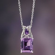 Double Amethyst Pendant Meditate on these: two genuine amethysts—one, a square-cut African amethyst, the other a faceted amethyst accent—soothe the wearer in this handsome pendant of fine sterling silver. Purple Jewelry, Amethyst Jewelry, Amethyst Necklace, Amethyst Pendant, Gemstone Jewelry, Jewelry Accessories, Jewelry Necklaces, Jewelry Design, Jewlery