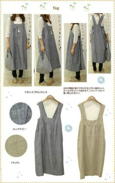 japanese apron pattern fog linen apron dress by underground prairie this style would make a great art apron fog linen apron dress easy packing shopping products from japan japanese apron pattern tutor Sewing Aprons, Sewing Clothes, Diy Clothes, Linen Apron Dress, Smock Dress, Wrap Dress, Japanese Apron, Fog Linen, Dress Patterns