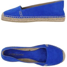 La Corde Blanche Espadrilles (200 PLN) ❤ liked on Polyvore featuring shoes, sandals, blue, leather shoes, rubber sole sandals, rubber sole shoes, leather espadrilles and blue leather sandals