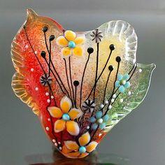 PIKALDA=handmade lampwork glass bead focal pendant flower blossom=LIFE &SOUL=SRA