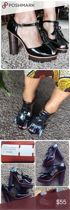 """Pour La Victoire Fiona Black Fringe heels 9M Pour La Victoire Fiona Fringe heels 9M. Worn two times. Fits like a 9-9.5M.  Patent leather. Heel: 5.25"""",  platform: 1.25"""".   Very good used condition. Pour la Victoire Shoes Platforms"""