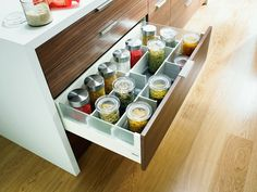 Pot and pan storage – white kitchen pan drawer dividers fit Blum Intivo drawers, and include pot lid storage plus everyday utensils. Kitchen Drawer Organiser, Kitchen Drawers, Drawer Organisers, Kitchen Organization, Pan Storage, Spice Storage, Storage Drawers, Ikea Drawers, Dining Room Sets
