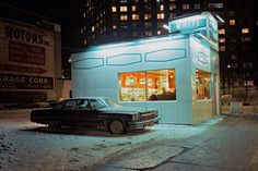 <em>White Tower car, Buick LeSabre, Meatpacking District, 1976.</em> From <em>Cars - New York City, 1974 - 1976</em>, by Langdon Clay.
