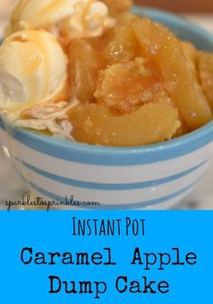 This delicious Instant Pot Caramel Apple Dump Cake is so incredibly easy to make. Caramel apple warm gooey and delicious! Pin for Later! Caramel Apple Dump Cake, Apple Dump Cakes, Caramel Apples, Apple Cake, Instant Pot Pressure Cooker, Pressure Cooker Recipes, Pressure Cooking, Vegetarian Cake, Instant Pot Dinner Recipes