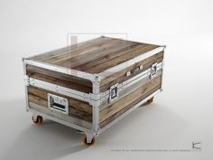 Coffee table trunk 90x60x48 - recycled teak wood