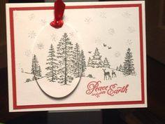 Christmas Card - Inks:  Hero Arts Red Royal, Memento Northern Pine, Versamark - Simon Says Stamp Rainbow Sparkle Embossing Powder - Hero Arts Winter Scene Stamp - Darice Nesting Oval Dies