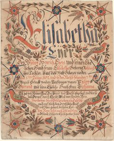 Birth and Baptismal Certificate (Geburts und Taufschein) for Elisabetha Eyer - Fraktur