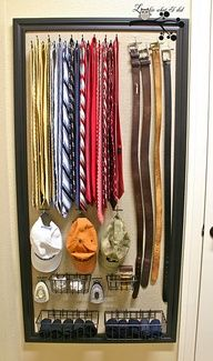 DIY || Closet Organizer   Peg Board (LOWES will cut) covered by fabric and framed - then buy the hooks and baskets.