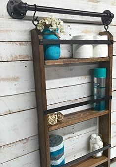 Farmhouse+Storage+Ideas,+bathroom+ladder+shelf+|+DuctTapeAndDenim.com