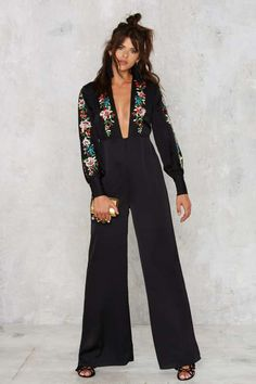 Nasty Gal Come Up Roses Embroidered Jumpsuit - Sale