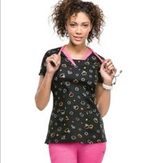 Heart soul scrub top A Junior fit, V-neck top features shaped yoke seams and patch pockets. Also featured are double needle topstitching, a signature woven tape at the back neck, front and back darts and side vents. From smoke free home! HeartSoul Other