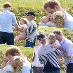 Prince Harry of Wales having fun with his niece Mia Tindall while his cousin Zara looks on at the Charity Polo Festival at Gloucestershire