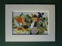 Original 1953 vintage matted Enid Blyton lithograph print, illustrated by Willy Schermele.    Condition: excellent - printed on heavyweight paper.