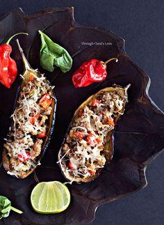 Turkey sausage stuffed eggplants