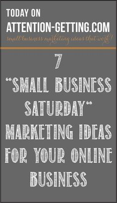 Marketing Ideas for Small Business Saturday - On my blog at…