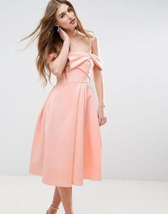 b6c48c0b2e ASOS Fold Detail Bardot Scuba Prom Dress - Multi