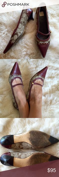 Coach maroon kitten heel Mary Jane shoes Coach maroon kitten heel Mary Jane shoes. Worn only twice but has some wear on toes. Price AS IS Coach Shoes Heels
