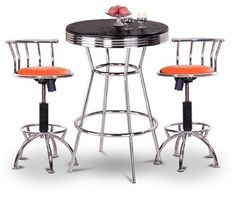 "Chrome Bar Table & 2 Chrome Adjustable 24""-29"" Orange Nylon Seat Barstools by The Furniture Cove. $348.88. Chrome Metal Finish Stools. 24"" to 29"" Adjustable Seat Height. Orange Nylon Seat. 3 Piece Set includes Table and 2 24""-29"" Bar Stools. Swivel Seat. This table stands 41 3/4"" tall and is 30"" in diameter. Notice the ""foot bar"" for resting your feet. It is metal chrome with a chrome trim. The top is a nice hardwood which will last a long time. We also have this..."