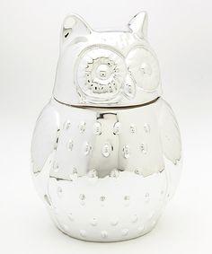 Silver Owl Cookie Jar