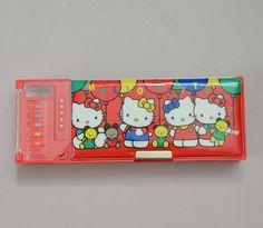 Vintage Hello Kitty Pencil Box Sanrio Red Vinyl by smithregan, $49.00