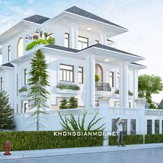 Biệt Thự Chú Thám Huế House Arch Design, House Outside Design, Home Building Design, Bungalow House Design, Villa Design, Facade Design, Classic House Exterior, Classic House Design, Dream Home Design