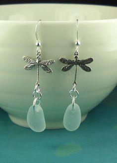 Sea Glass Earrings Dragonfly Aqua Sterling by seaglassgems4you, $38.00
