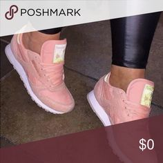 ISO Blush Pink Suede Reebok Want these so bad!!! I usually wear like a 5.5 in boys cause I never find girls sneakers I like, I love these!!! I'm guessing I'd be a 6 or 6.5 in these!!!! Reebok Shoes Athletic Shoes