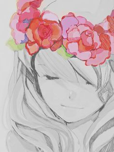 Anime girl, Love the flowers