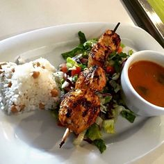 """Lunch Only"" Grilled Chicken Kebab Plate With Soup Salad Rice and Chicken #donapa #eatguidenapa #visitnapavalley #lunch by tarlagrill"