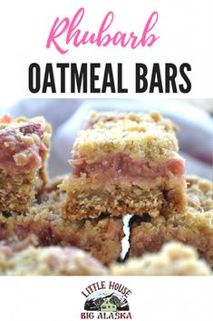 This recipe for Rhubarb Oatmeal Bars will get that last bag of rhubarb right out of the freezer Pair it with another pantry staple, oatmeal, and you& got cookies you can make just about anytime vi - Rhubarb Oatmeal Bars, Rhubarb Bars, Rhubarb Squares, Rhubarb Ideas, Oatmeal Bars Healthy, Rhubarb Rhubarb, Oatmeal Cake, Fruit Recipes, Sweet Recipes