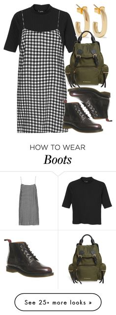"""""""Untitled #5648"""" by rachellouisewilliamson on Polyvore featuring Monki, Boutique, Dr. Martens, Jennifer Fisher and Burberry"""