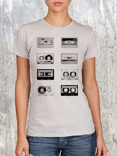 Cassette Tapes  Women's Graphic Tee  Size S M by CrawlspaceStudios, $22.50