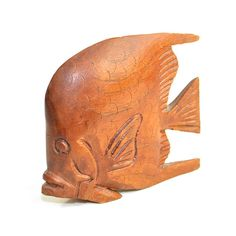 Vintage Carved Wooden Angel Fish: Natural wooden mid-century nautical beach home decor. Available from OneRustyNail on Etsy. ► http://www.etsy.com/shop/OneRustyNail