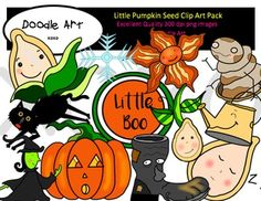 This Little Pumpkin Seed Clipart collection includes all the images shown in the sample picture and more. This clipart pack is a parody of the book - Little Boo.      This pack includes 44 different clips:* Black line masters of all clips* Little Boo* Seed* Pumpkin Seed* Pumpkin* Jack-o-lantern* Witch* Ghost* Boot* Shovel* Cat* Sign* etc...Graphics come in PNG format 300 dpi format.My graphics are suitable for printing and digital projects and can be easily re-sized smaller to suit other…