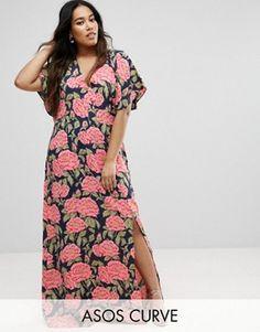 ASOS CURVE Navy Floral Kimono Maxi Dress