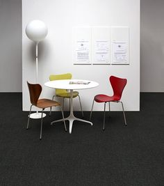 """""""Thoroughfare"""" is a modular tile from Tandus with a tweedy pattern incorporating a bit"""