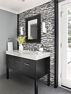 Check out these amazing bathrooms that are full of storage! You'll love all the options for cabinets, vanities, freestanding shelving or built-in shelves. Get inspiration for your bathroom makeover.