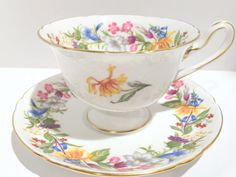 Spring Bouquet Shelley Tea Cup and Saucer, Shelley China, Gainsborough Shape, Pattern 13651, Antique Tea Cups, Bridal Shower Gift