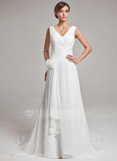 A-Line/Princess V-neck Chapel Train Chiffon Wedding Dress With Feather Flower(s) Cascading Ruffles (002011459)