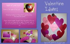 Valentines Day Idioms Booklet is what I used to make an idiom heart wreath with my speech therapy students for valentine's day. I picked several love/heart themed idioms to add to our wreath.My kids didn't really know any of the idioms I tried to use, so I made them booklet for their reference.