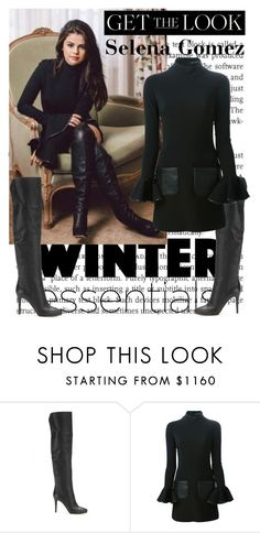 """Get The Look: Selena Gomez Thigh High Boots Look For Winter Essentials"" by farrahdyna ❤ liked on Polyvore featuring Jimmy Choo, David Koma, GetTheLook, selenagomez, THIGHHIGHBOOTS and winterstyle"