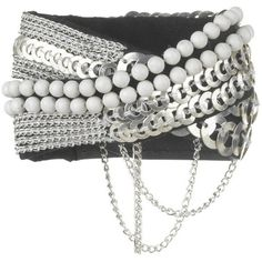 Fiona Paxton Salma Cuff – Silver, White and Black found on Polyvore