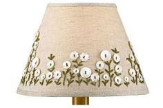 f you want to freshen up an old lampshade, simply glue or sew on some buttons. Place buttons in a pattern or simply make a random design, glueing in place. In this lamp additional detail has been added with embroidery thread.