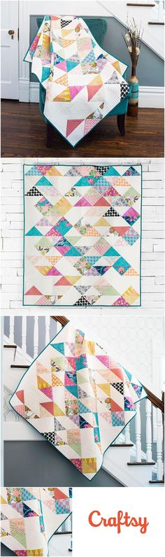 Sacramento Quilt using FreeSpirit CaliMod by Joel Dewberry for Craftsy.com.   Half square triangle quilt.  Modern Quilt Pattern.   Affiliate link.