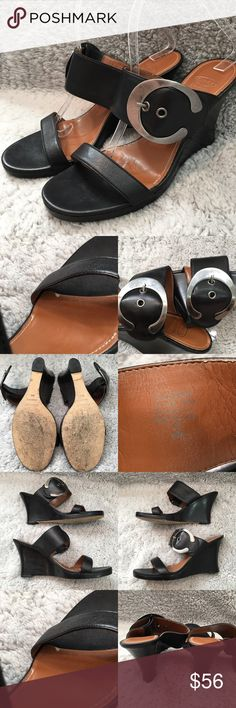 Size 9M Circa Joan David Black Slide On Wedge Heel • Measurements are in photos  • Material tag is in photos • Normal wear on the bottom soles, has some scratches on the buckles, no other flaws • Black  • Open Toe  • Wedges  S2/60  Thank you for shopping my closet! Circa Joan & David Shoes Wedges