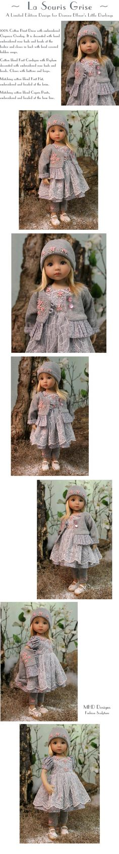 """La Souris Grise"" a Limited Edition Design for Dianna Effner's Little Darlings by Doll Artist Magalie Houle Dawson. Tiny Dolls, Ag Dolls, Barbie Dolls, American Doll Clothes, Ag Doll Clothes, American Girl, Porcelain Doll Costume, My Child Doll, Diana"
